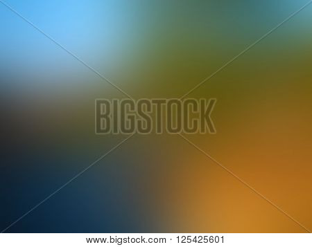 Sunset blurred background with blue orange green and turquoise spots texture in vector