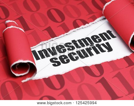 Safety concept: black text Investment Security under the piece of  torn paper