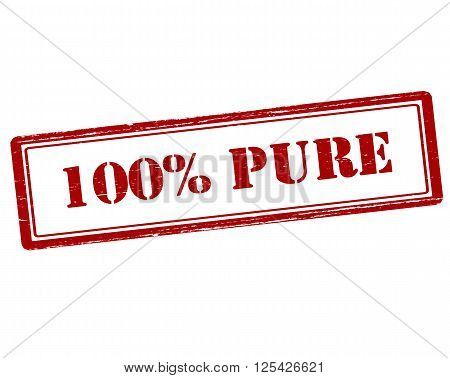 Rubber stamp with text one hundred percent pure inside vector illustration