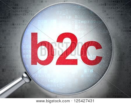 Business concept: B2c with optical glass