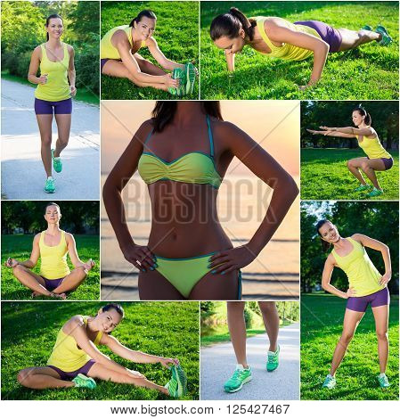 Ideal Figure Concept - Collage Of Slim Beautiful Sporty Woman Doing Different Exercises In Park