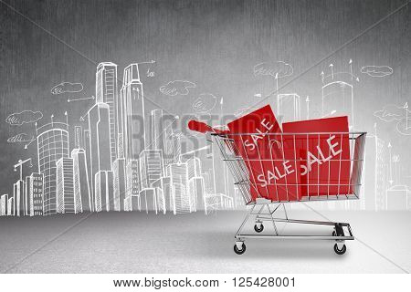 Trolley with sale shopping bags against hand drawn city plan