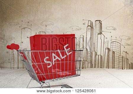 Trolley with sale shopping bag against hand drawn city plan