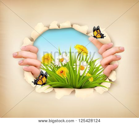 Spring background with hands, ripping paper to show a landscape. Vector.