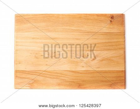 Unused brand new pine wooden cutting board isolated over the white background, top view above foreshortening