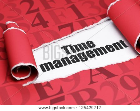 Time concept: black text Time Management under the piece of  torn paper
