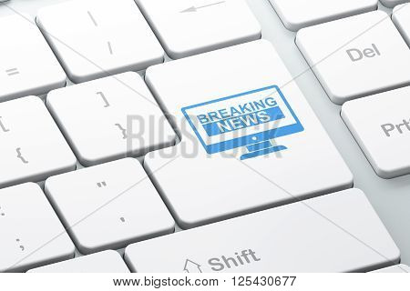 News concept: Breaking News On Screen on computer keyboard background