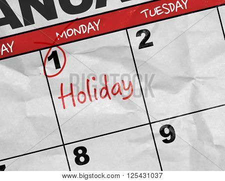 Concept image of a Calendar with the text: Holiday