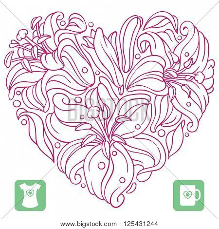 Vector lily pattern in the shape of heart isolated on white background