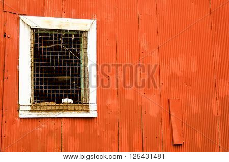 Red Corrugated Metal Wall