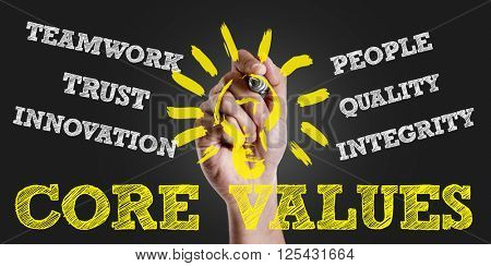Hand writing the text: Core Values
