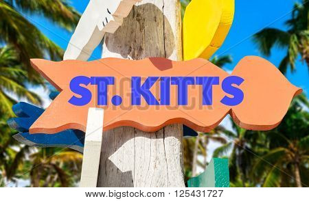 St. Kitts signpost with palm trees