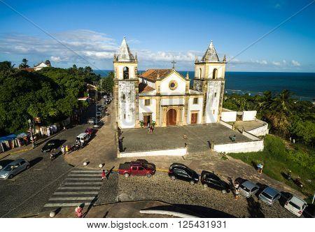 Aerial View of Olinda and Se Cathedral in Olinda, Recife, Braz