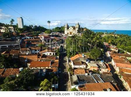 Aerial View of Olinda and Se Cathedral in Olinda, Recife, Braz
