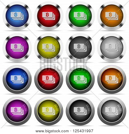 Set of bitcoin banknotes glossy web buttons. Arranged layer structure.