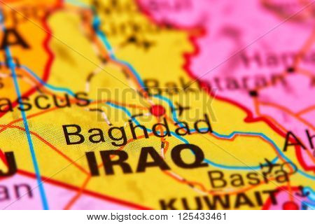 Baghdad, Capital City Of Iraq On The Map