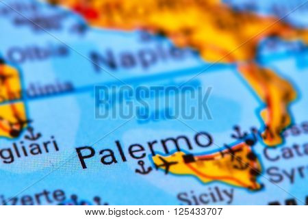 Palermo, Capital City Of Sicily On The Map