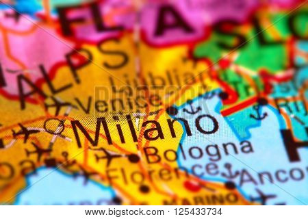 Milano, City In Italy On The Map
