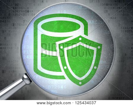 Database concept: Database With Shield with optical glass on digital background