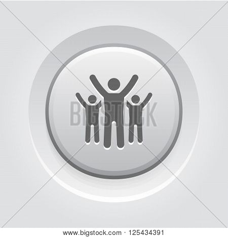 Success Icon. Business Concept. Grey Button Design