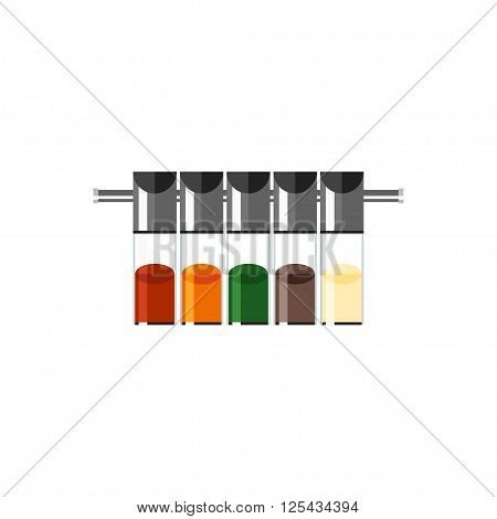 Icon spices isolated on a white background. Flat icon spices in glass bottles. Vector illustration.