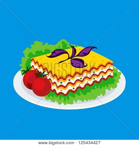 Lasagna icon isolated on a blue background. Icon dishes with vegetarian lasagna with salad and tomatoes in a flat style. Vector illustration.