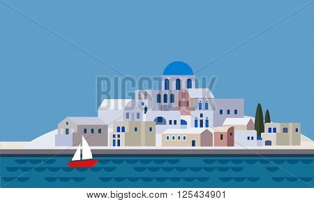 Mediterranean landscape by sea Greek island with little town village resort beach flat design vector illustration