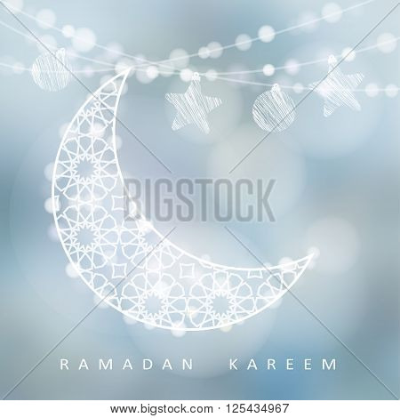 String with ornamental moon stars balls and bokeh lights vector illustration background card invitation for muslim community holy month Ramadan Kareem
