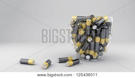 3d illustration of many batteries in glass vase