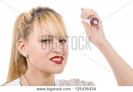 an angry crazy blond doctor with a syringe on white