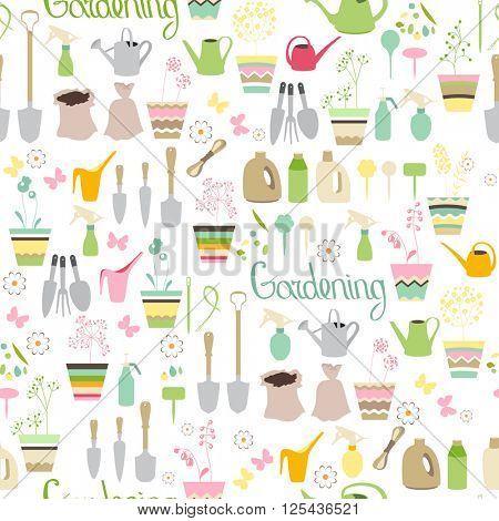 Seamless pattern with gardening tools, flower pots,herbs and vegetables.Endless texture for your design, advertisement, posters.