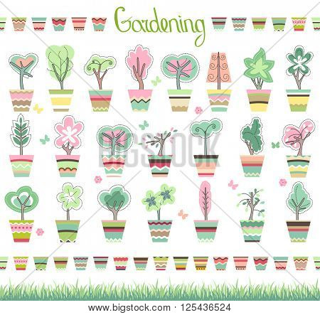 Cute striped flower pots,green grass, phrase Gardening and growing topiary. Endless horizontal borders.