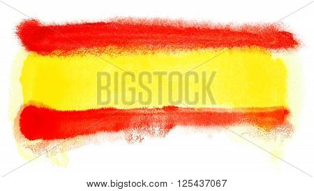a watercolor illustration of the Spain flag