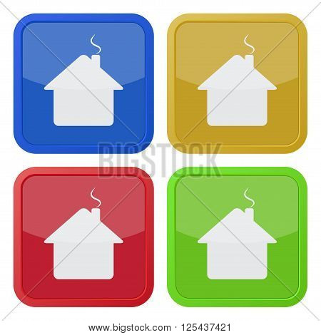 set of four colored square icons - house with chimney