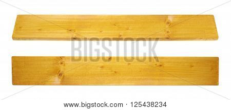 Yellow paint coated pine wood board plank isolated over the white background, set of two foreshortenigns