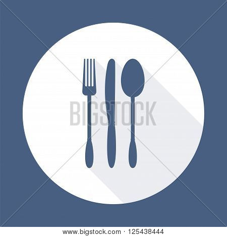 Fork knife and spoon with long shadow. Dining etiquette. Foods Service icon. Menu card. Simple flat vector illustration EPS 10.