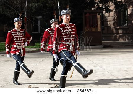SOFIA, BULGARIA - MARCH 7, 2016: Ceremonial changing of the Guard of Honor at the building of the President of the Republic of Bulgaria. The ceremony was held in first time on 5 November 2003