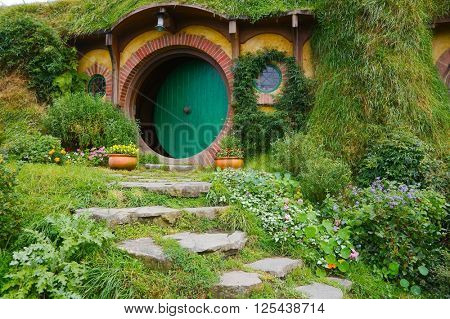 MATAMATA, NEW ZEALAND - APRIL 2, 2016: Movie set for the Lord of The Rings and The Hobbit. Bilbo Baggins house.