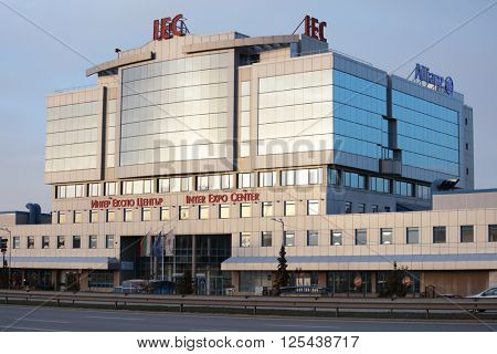 SOFIA, BULGARIA - MARCH 6, 2016: Building of Inter Expo Center in a springtime evening. Opened in 2001, it still is the only exhibition complex in Sofia