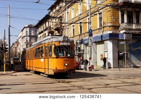 SOFIA, BULGARIA - MARCH 5, 2016: Retro styled tram in the city center. The tramway system in Sofia was created in 1901, and now is the only tramway system in Bulgaria