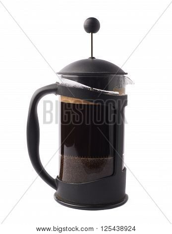 French press pot coffee maker filled with the fresh brew coffee, composition isolated over the white background
