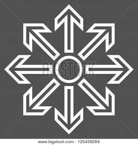 Maximize Arrows vector icon. Style is stroke icon symbol, white color, gray background.