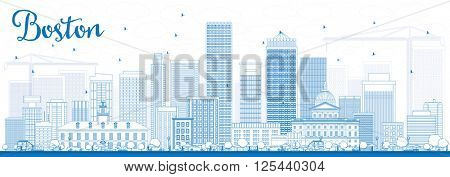 Outline Boston Skyline with Blue Buildings. Vector Illustration. Business Travel and Tourism Concept with Modern Buildings. Image for Presentation Banner Placard and Web Site.