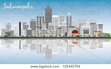 Indianapolis Skyline with Gray Buildings, Blue Sky and Reflections. Vector Illustration. Business Travel and Tourism Concept with Modern Buildings. Image for Presentation Banner Placard and Web Site.