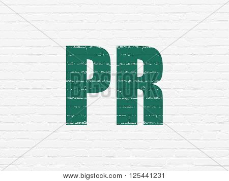 Advertising concept: PR on wall background