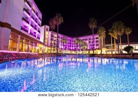 Swimming pool in the territory hotel at night. Marmaris. Turkey.