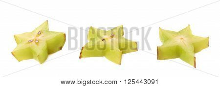 Averrhoa carambola starfruit cross-section slice isolated over the white background, set of three different fore shortenings