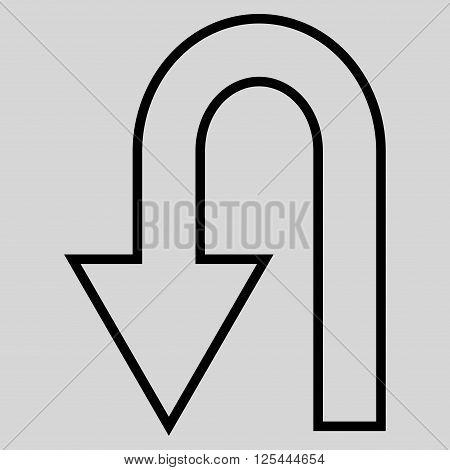 Return Arrow vector icon. Style is stroke icon symbol, black color, light gray background.