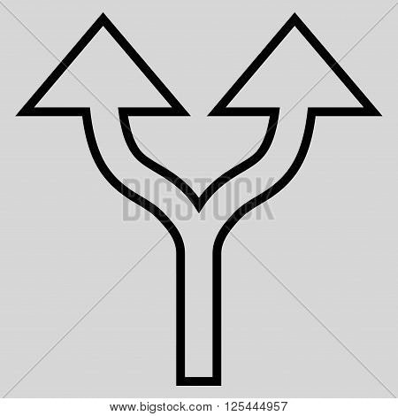 Split Arrows Up vector icon. Style is outline icon symbol, black color, light gray background.