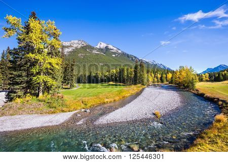 Delightful park Banff in the Rocky Mountains of Canada. The shallow stream among green and yellow grass lawns